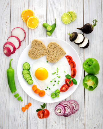 Healthy Breakfast on wooden table Imagens