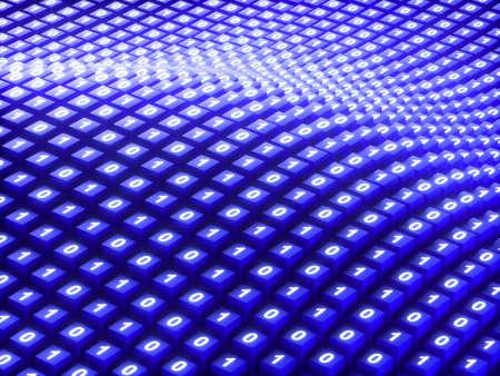 Binary Code, Data, Blue, Technology, Digitally Generated Image Stock Photo