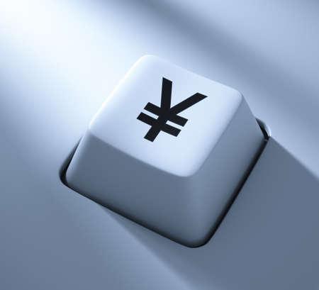 Yen Symbol , computer key , blue toned with soft light