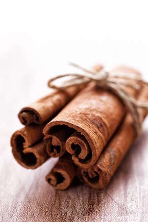 Close-up Cinnamon Sticks with copy space