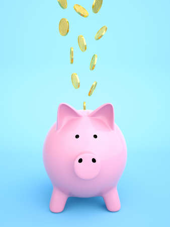 Piggy bank, with coins falling into slot , Blue background , 3d render