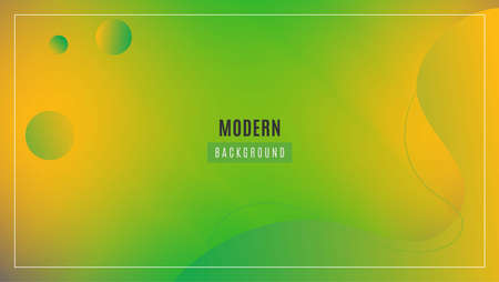Abstract Gradient Green Yellow Background With Minimal Curves and Circle Shapes. Good For Banner, Landing Page Or Wallpaper. 写真素材 - 167152591
