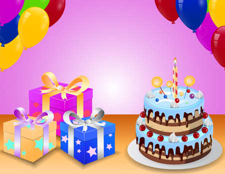 surprise box: birthday cake with colorfull balloon and surprise box