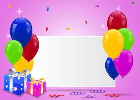 Globos del cumpleaños con la muestra en blanco y caja sorpresa