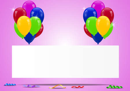 retro styled imagery: Birthday balloons with blank sign