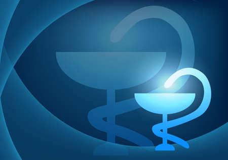 medical symbol: medical background with snake on cup symbol