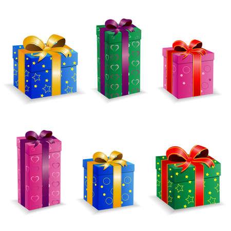 set collection birthday box Векторная Иллюстрация