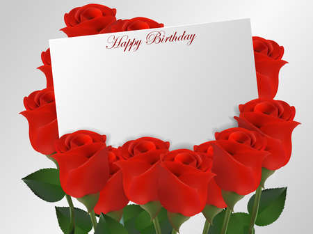 wish desire: Happy birthday card with roses flower Illustration