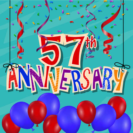 57: Anniversary celebration background with confetti and balloon