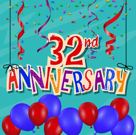 celebration background: Anniversary celebration background with confetti and balloon