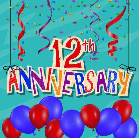 number twelve: Anniversary celebration background with confetti and balloon