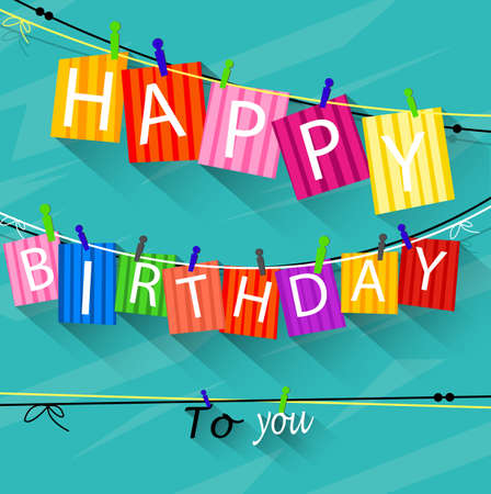 clothespin: Birthday card with Clothespin and colorful letters hang on rope