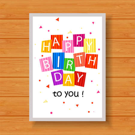 fancy pastry: Birthday card on wood background
