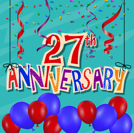 27: Anniversary celebration background with confetti and balloon