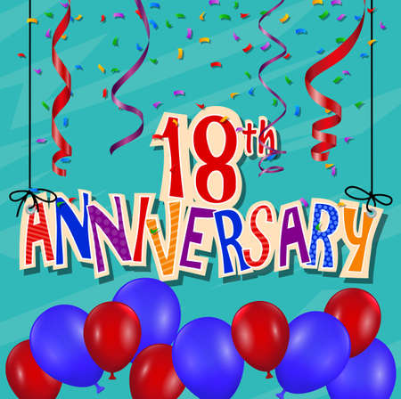 happy birthday 18: Anniversary celebration background with confetti and balloon