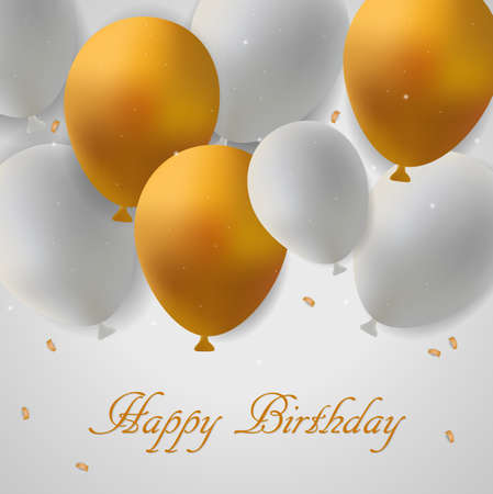 Birthday card with gold and white balloons