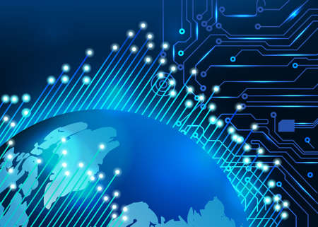 Abstract circuit board background with globe Stock Photo