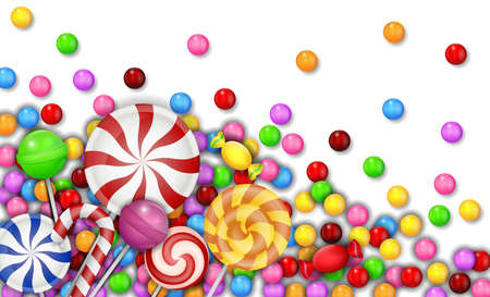 Sweet of candies with lollipop on white background