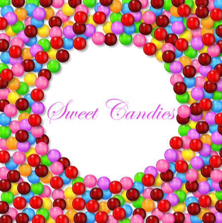 multicolored gumballs: Round background with various sweet candy on frame