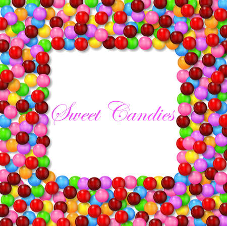 multicolored gumballs: Square background with various sweet candy on frame