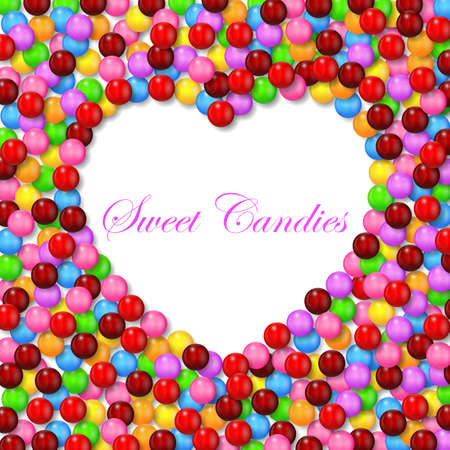 multicolored gumballs: Love background with various sweet candy on frame