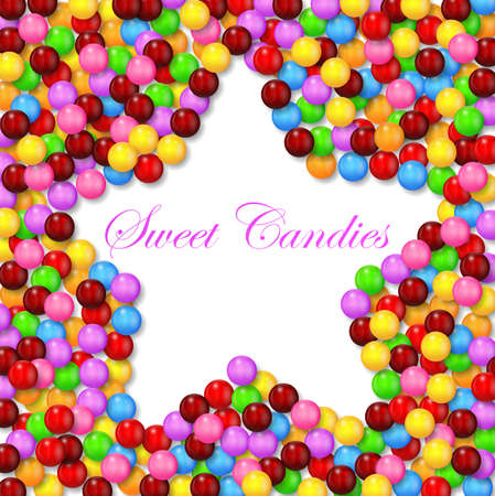 multicolored gumballs: Star background with various sweet candy on frame Illustration