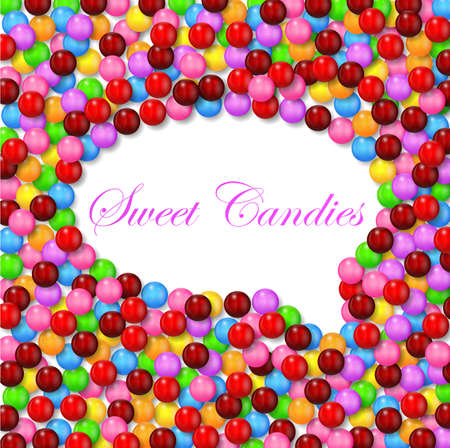 multicolored gumballs: Comic style bubble background with various sweet candy on frame