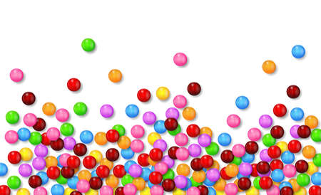 Various sweet candies on white background