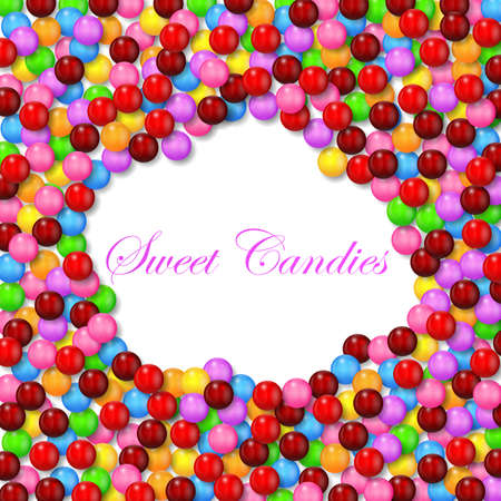 multicolored gumballs: Cloud shape background with various sweet candy on frame Illustration