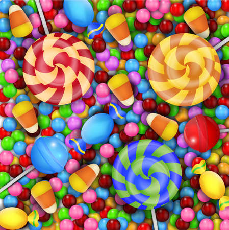 jellybean: Sweet of candies with lollipop and candy corn