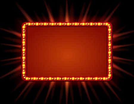 看板のランプでレトロなスタイル。電球とビンテージのバナー