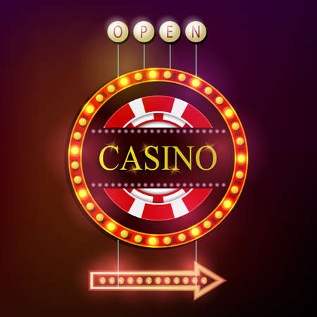hollywood star: Casino signboard retro style with light frame