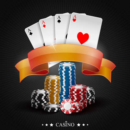 gambler: Poker gambling chips. Poker collection with chips Stock Photo