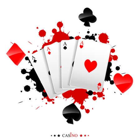 페인트 얼룩에 카드 놀이