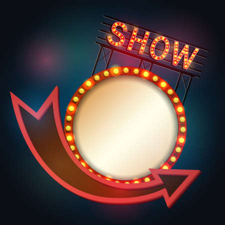 Vector illustration of Showtime signboard retro style with light frame