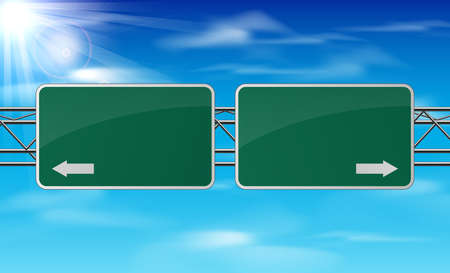 Blank green traffic road sign on sky background