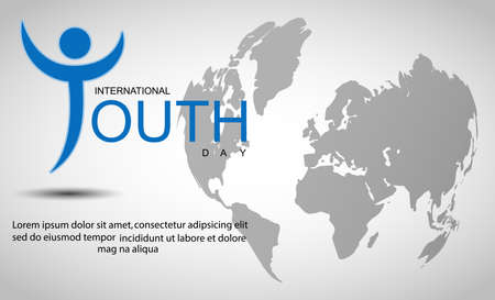 International youth day background with world map