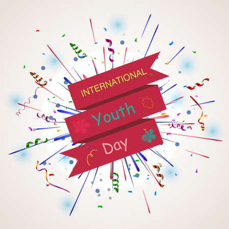 Vector illustration of International youth day background with firework Illustration