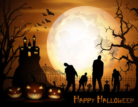 Vector illustration of Halloween background with pumpkins, zombie, and scary church on graveyard