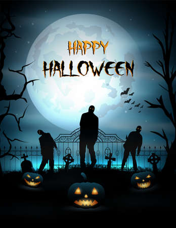 Halloween background with pumpkin and zombie walking out from grave Imagens