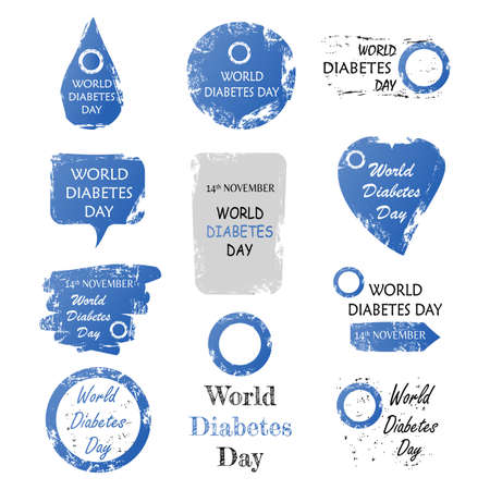 Vector illustration of Set of world diabetes day sign with grunge shape Vectores