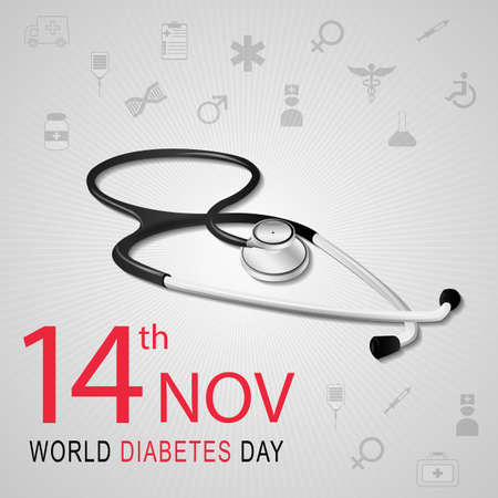 Vector illustration of World diabetes day awareness with stethoscope