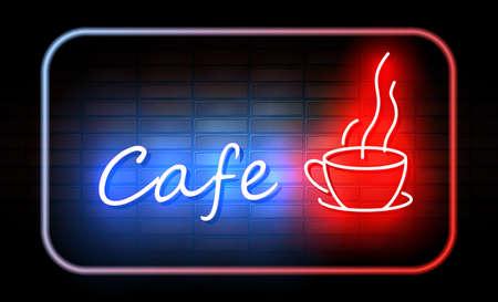 Caféneonzeichen auf Backsteinmauer Standard-Bild - 89439573