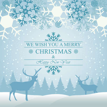 Illustration of Christmas greeting card with snowflake and deer in the forest