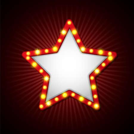 스타 간판 복고 스타일 램프의 그림입니다.