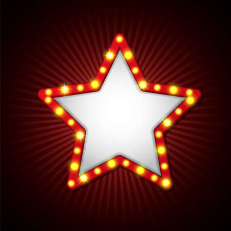 Illustration of Star signboard retro style with lamps. Vettoriali