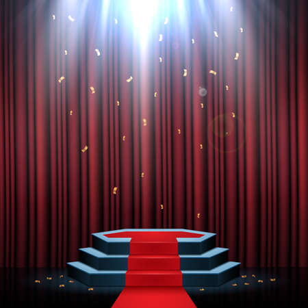 Podium with red carpet and curtain illuminated by spotlights 写真素材