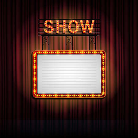 Showtime retro sign with curtain background