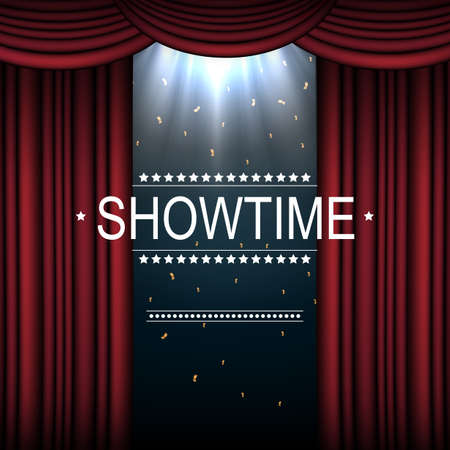 Showtime background with curtain illuminated by spotlights 写真素材