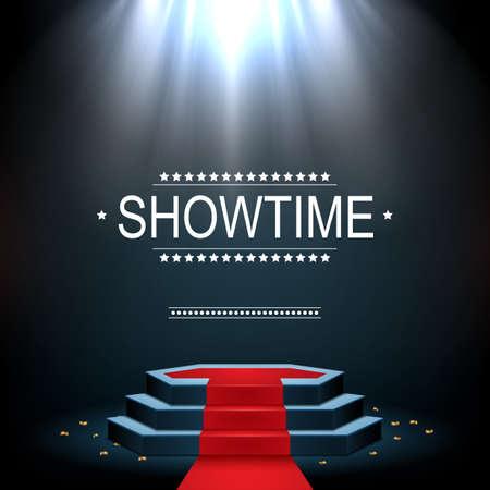 illustration vectorielle de la bannière de baccalauréat avec podium et rouge mat éclairé par projecteurs
